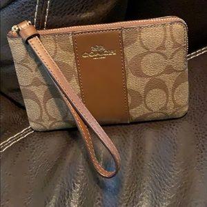 Coach Signature Print Corner Zip Wristlet Wallet